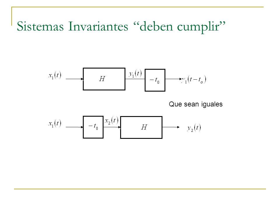Sistemas Invariantes deben cumplir Que sean iguales
