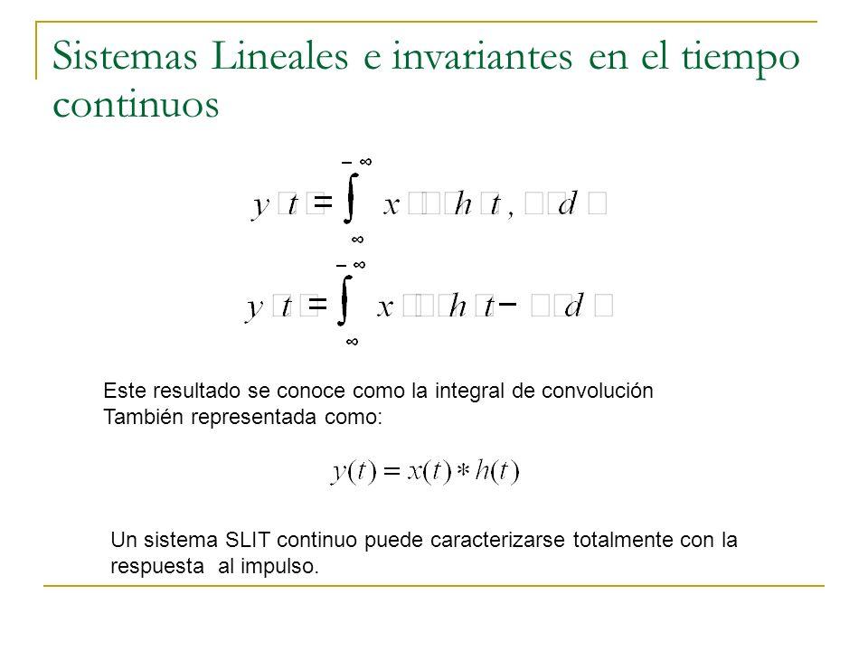 Sistemas Lineales e invariantes en el tiempo continuos Este resultado se conoce como la integral de convolución También representada como: Un sistema
