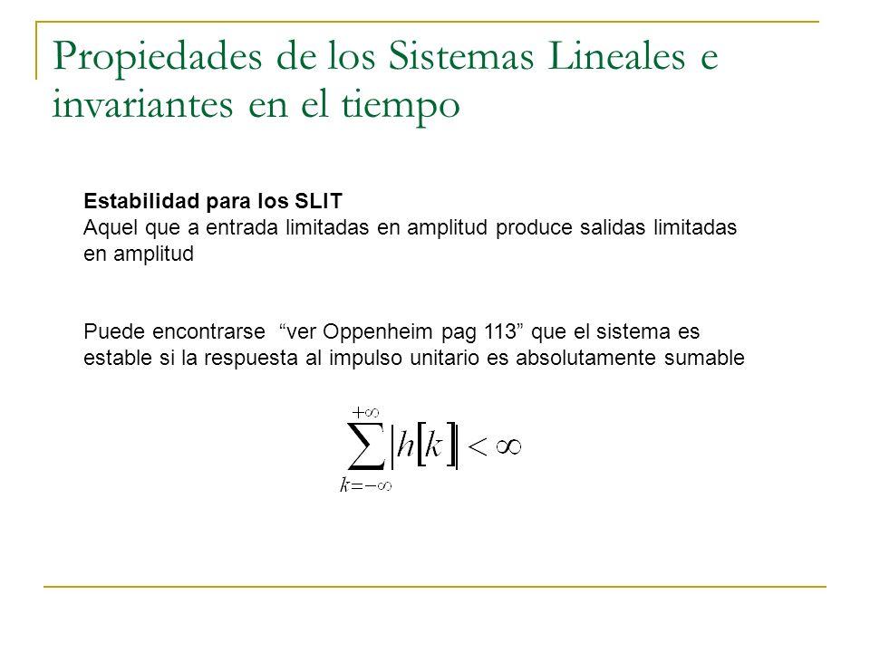 Estabilidad para los SLIT Aquel que a entrada limitadas en amplitud produce salidas limitadas en amplitud Puede encontrarse ver Oppenheim pag 113 que