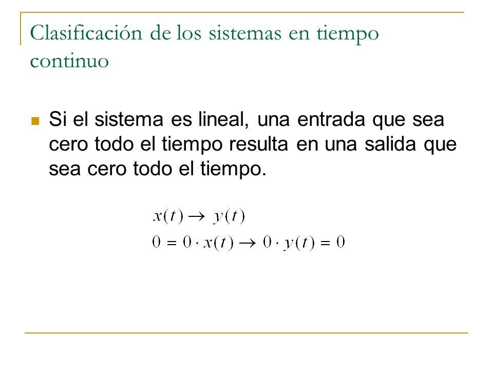 Clasificación de los sistemas en tiempo continuo Si el sistema es lineal, una entrada que sea cero todo el tiempo resulta en una salida que sea cero t