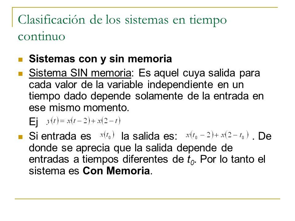 Clasificación de los sistemas en tiempo continuo Sistemas con y sin memoria Sistema SIN memoria: Es aquel cuya salida para cada valor de la variable i