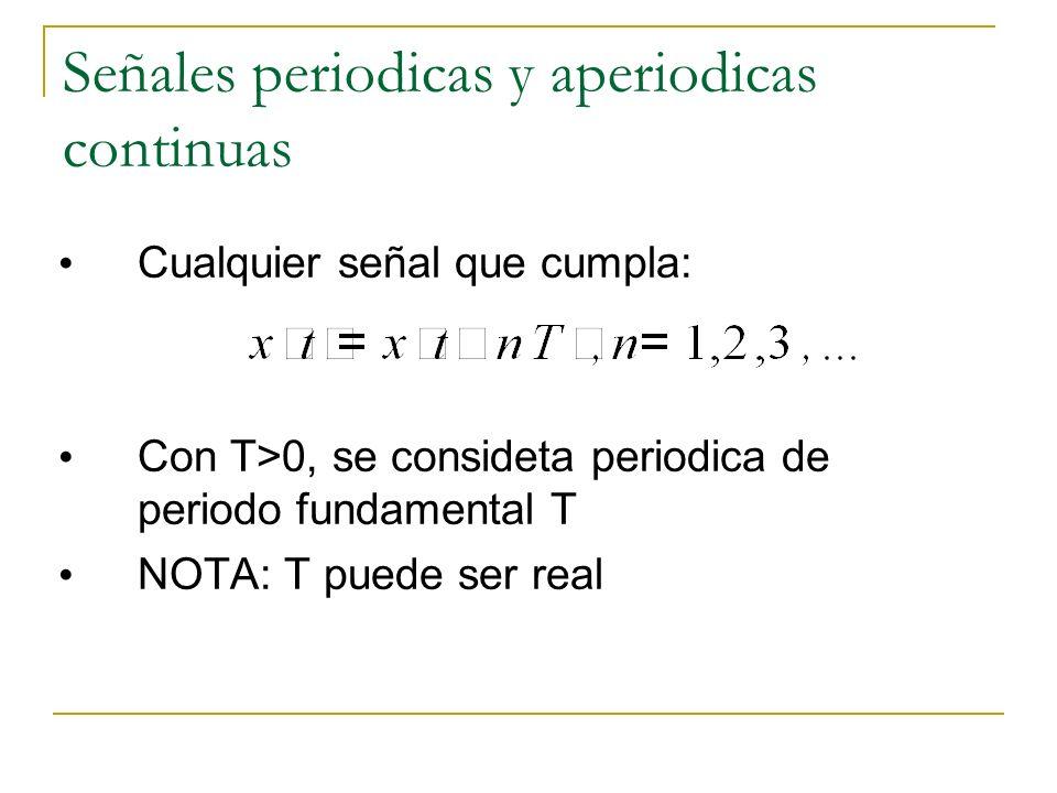 Señales periodicas y aperiodicas continuas Cualquier señal que cumpla: Con T>0, se consideta periodica de periodo fundamental T NOTA: T puede ser real