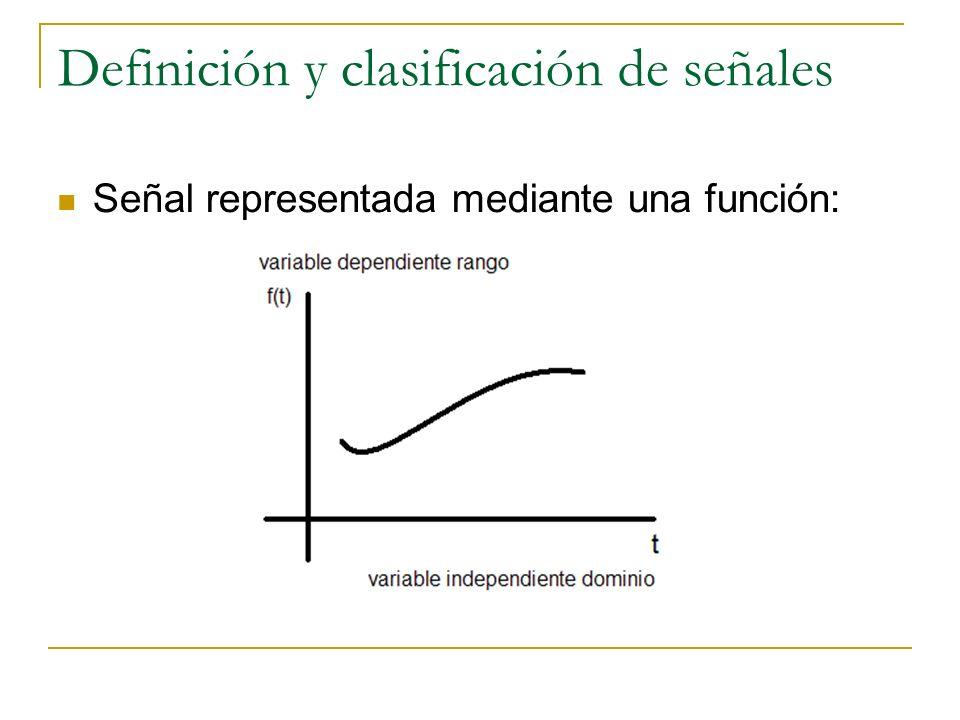 Definición y clasificación de señales Señal representada mediante una función: