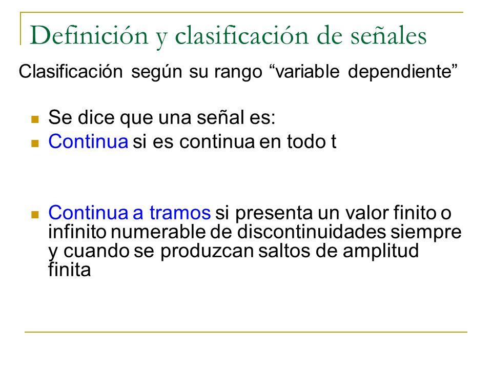 Definición y clasificación de señales Se dice que una señal es: Continua si es continua en todo t Continua a tramos si presenta un valor finito o infi