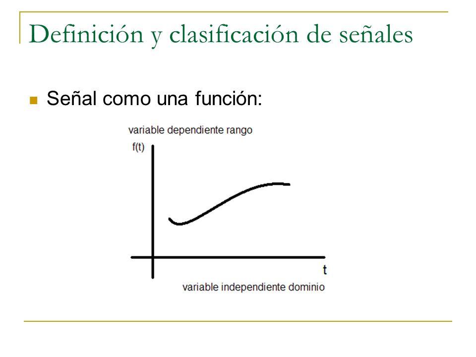 Definición y clasificación de señales Señal como una función: