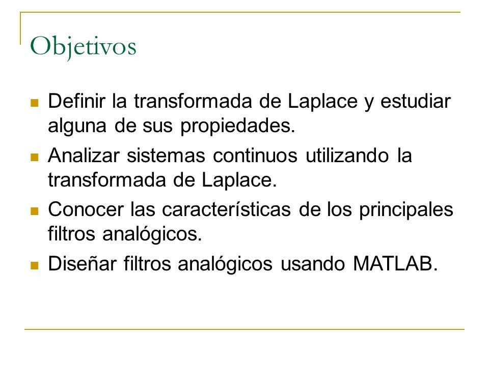 Objetivos Definir la transformada de Laplace y estudiar alguna de sus propiedades. Analizar sistemas continuos utilizando la transformada de Laplace.