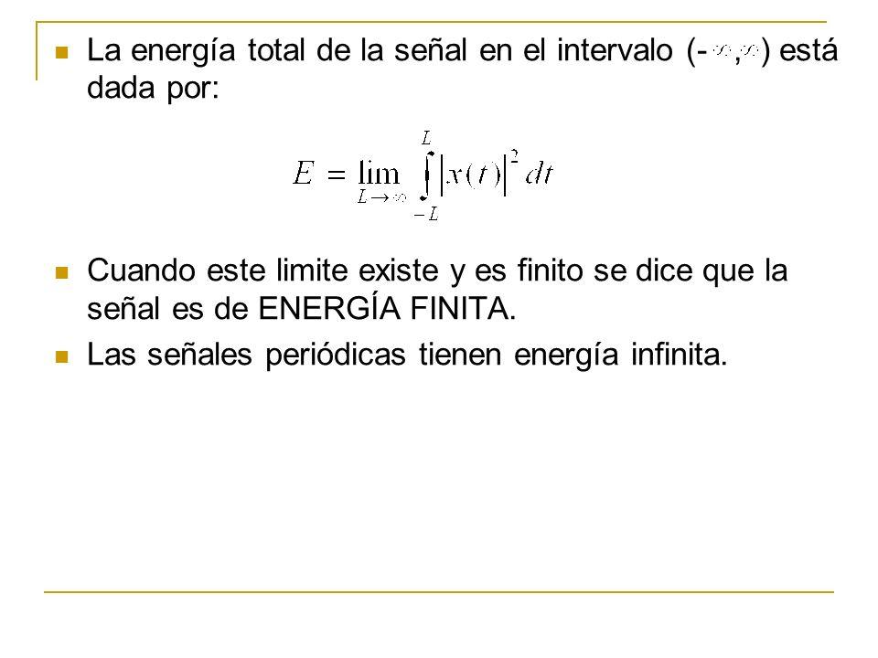La energía total de la señal en el intervalo (-, ) está dada por: Cuando este limite existe y es finito se dice que la señal es de ENERGÍA FINITA. Las