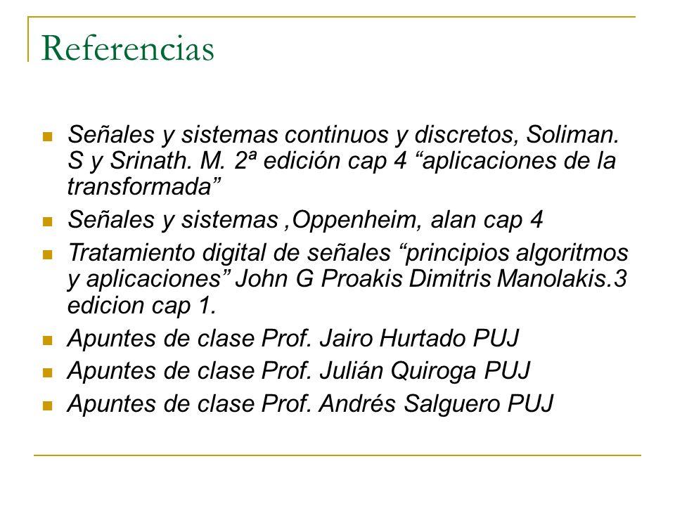 Referencias Señales y sistemas continuos y discretos, Soliman. S y Srinath. M. 2ª edición cap 4 aplicaciones de la transformada Señales y sistemas,Opp