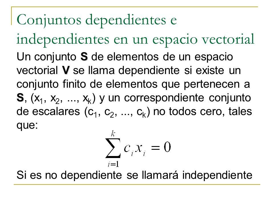 Conjuntos dependientes e independientes en un espacio vectorial S V S Un conjunto S de elementos de un espacio vectorial V se llama dependiente si exi