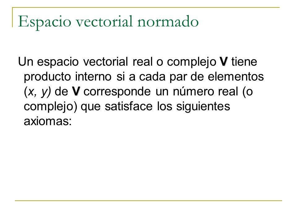 Espacio vectorial normado V V Un espacio vectorial real o complejo V tiene producto interno si a cada par de elementos (x, y) de V corresponde un núme