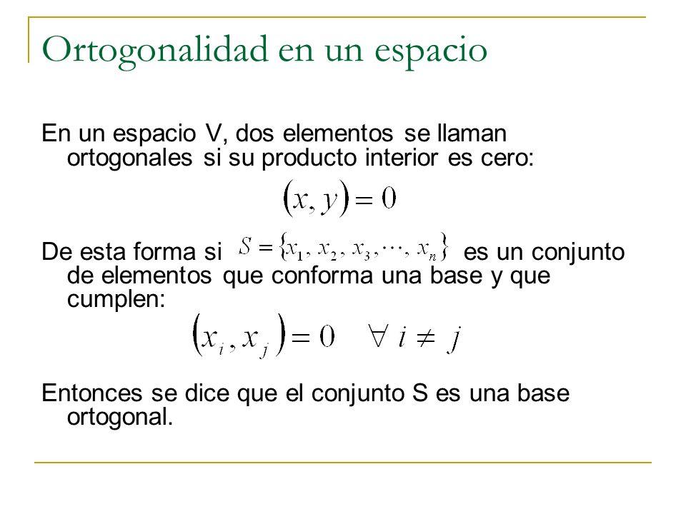 Ortogonalidad en un espacio En un espacio V, dos elementos se llaman ortogonales si su producto interior es cero: De esta forma si es un conjunto de e