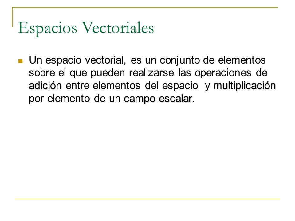 Espacios Vectoriales Al definir un espacio vectorial, no se especifica la naturaleza de los elementos ni se dice como se realizarán las operaciones entre ellos Pero si se exige que las operaciones posean ciertas propiedades tomadas como los axiomas de un espacio vectorial.
