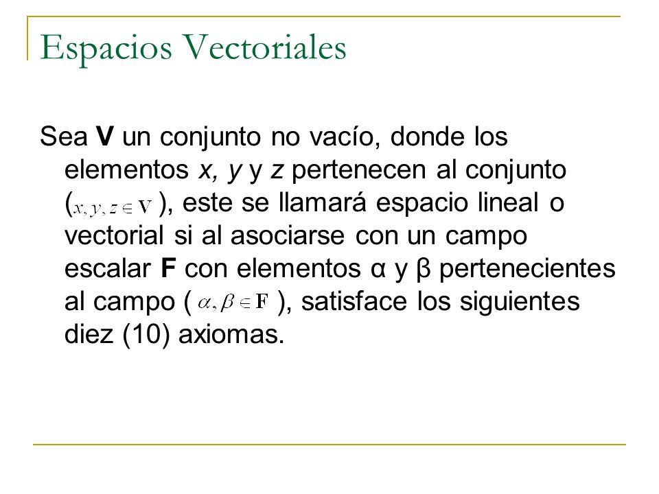 Espacios Vectoriales Sea V un conjunto no vacío, donde los elementos x, y y z pertenecen al conjunto ( ), este se llamará espacio lineal o vectorial s