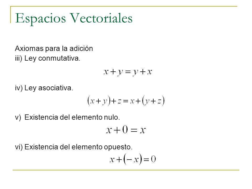 Espacios Vectoriales Axiomas para la adición iii)Ley conmutativa. iv)Ley asociativa. v)Existencia del elemento nulo. vi)Existencia del elemento opuest