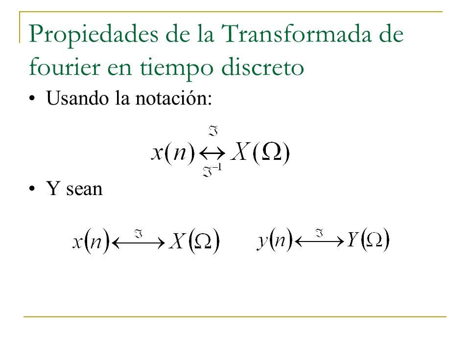 Propiedades de la Transformada de fourier en tiempo discreto Usando la notación: Y sean