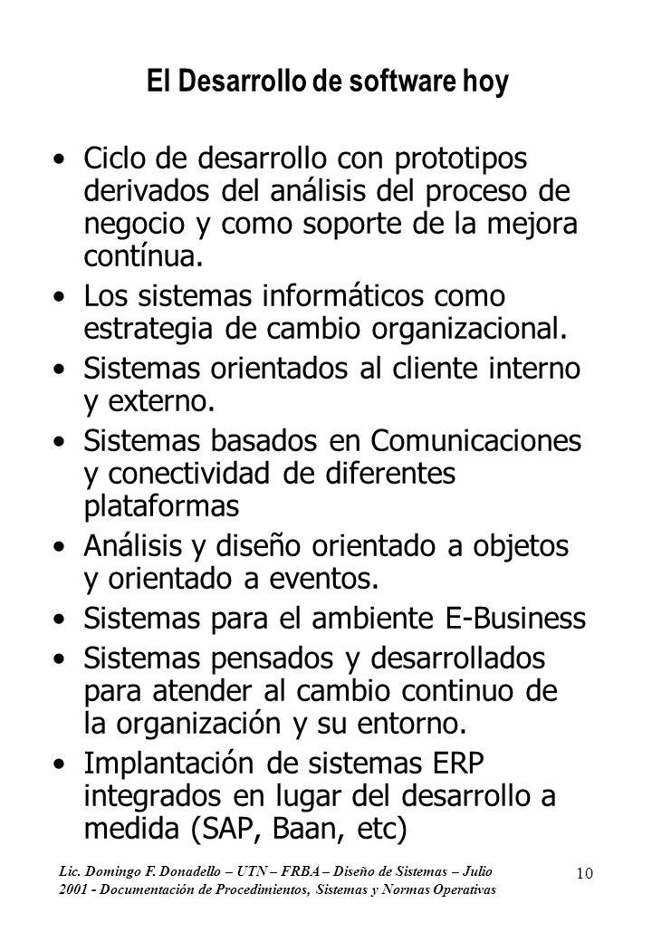 Lic. Domingo F. Donadello – UTN – FRBA – Diseño de Sistemas – Julio 2001 - Documentación de Procedimientos, Sistemas y Normas Operativas 10 El Desarro