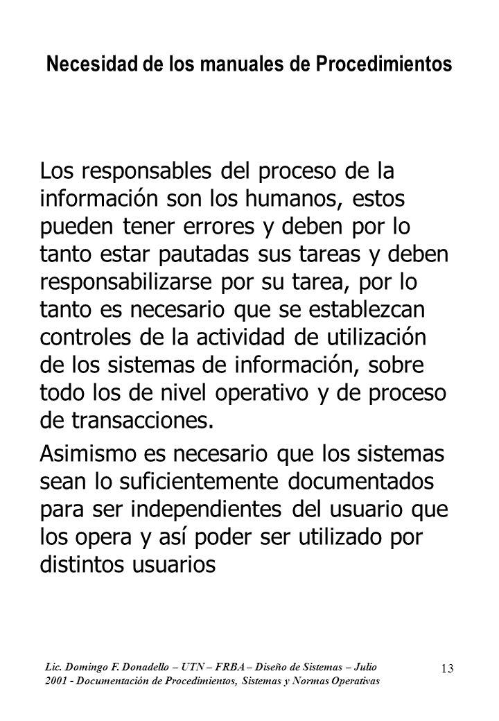 Lic. Domingo F. Donadello – UTN – FRBA – Diseño de Sistemas – Julio 2001 - Documentación de Procedimientos, Sistemas y Normas Operativas 13 Necesidad