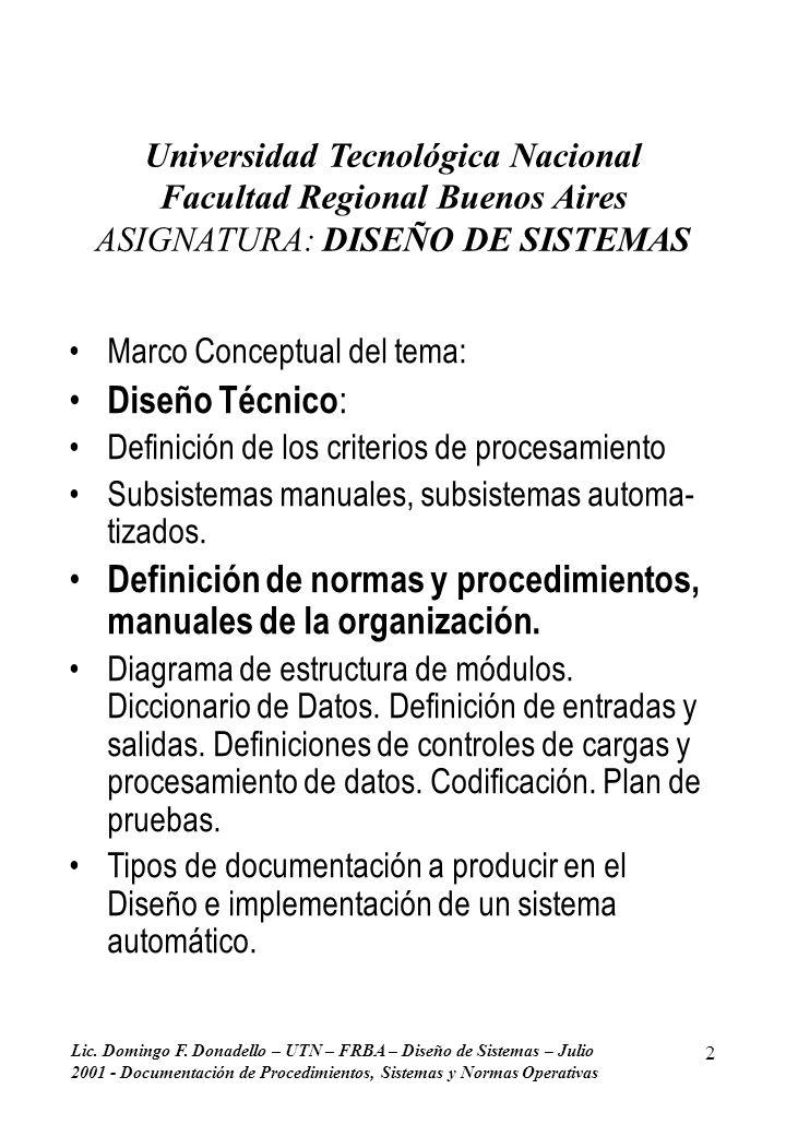 Lic. Domingo F. Donadello – UTN – FRBA – Diseño de Sistemas – Julio 2001 - Documentación de Procedimientos, Sistemas y Normas Operativas 2 Universidad