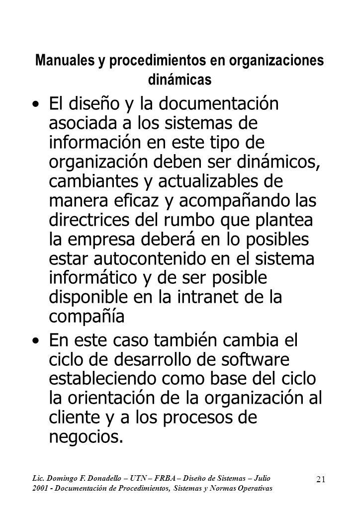 Lic. Domingo F. Donadello – UTN – FRBA – Diseño de Sistemas – Julio 2001 - Documentación de Procedimientos, Sistemas y Normas Operativas 21 Manuales y