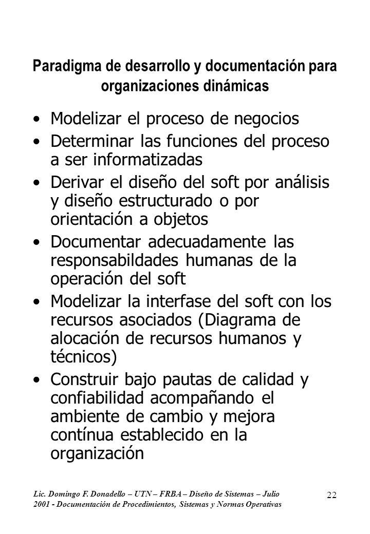 Lic. Domingo F. Donadello – UTN – FRBA – Diseño de Sistemas – Julio 2001 - Documentación de Procedimientos, Sistemas y Normas Operativas 22 Paradigma