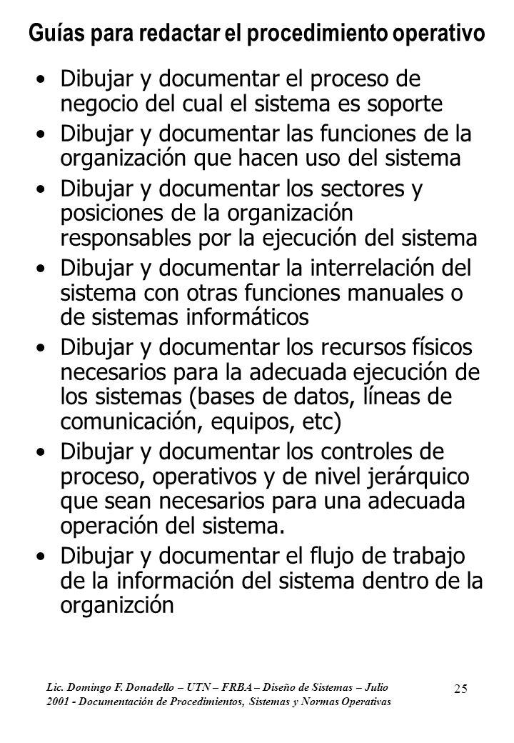 Lic. Domingo F. Donadello – UTN – FRBA – Diseño de Sistemas – Julio 2001 - Documentación de Procedimientos, Sistemas y Normas Operativas 25 Guías para