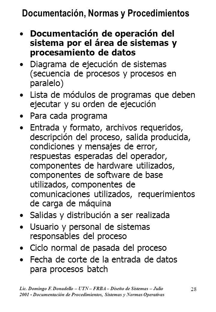 Lic. Domingo F. Donadello – UTN – FRBA – Diseño de Sistemas – Julio 2001 - Documentación de Procedimientos, Sistemas y Normas Operativas 28 Documentac