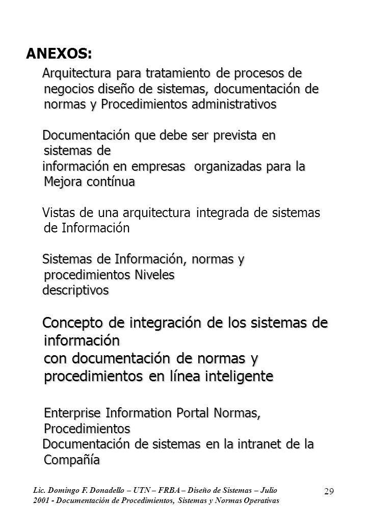 Lic. Domingo F. Donadello – UTN – FRBA – Diseño de Sistemas – Julio 2001 - Documentación de Procedimientos, Sistemas y Normas Operativas 29 ANEXOS: Ar