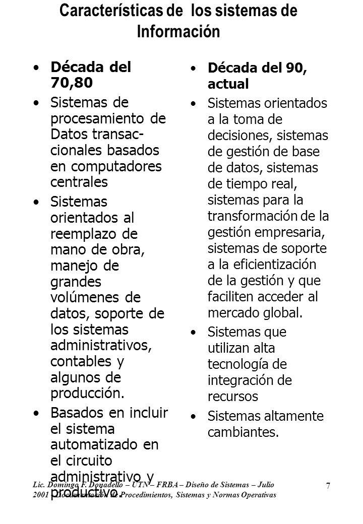Lic. Domingo F. Donadello – UTN – FRBA – Diseño de Sistemas – Julio 2001 - Documentación de Procedimientos, Sistemas y Normas Operativas 7 Característ
