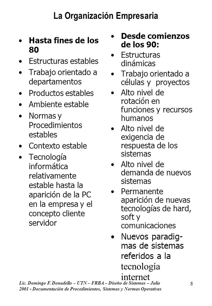 Lic. Domingo F. Donadello – UTN – FRBA – Diseño de Sistemas – Julio 2001 - Documentación de Procedimientos, Sistemas y Normas Operativas 8 La Organiza