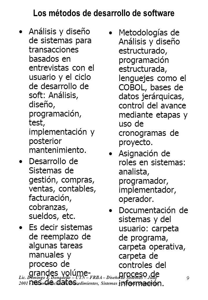Lic. Domingo F. Donadello – UTN – FRBA – Diseño de Sistemas – Julio 2001 - Documentación de Procedimientos, Sistemas y Normas Operativas 9 Los métodos