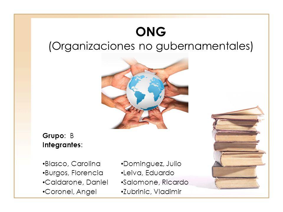 ONG (Organizaciones no gubernamentales) Grupo : B Integrantes : Blasco, Carolina Burgos, Florencia Caldarone, Daniel Coronel, Angel Dominguez, Julio Leiva, Eduardo Salomone, Ricardo Zubrinic, Vladimir