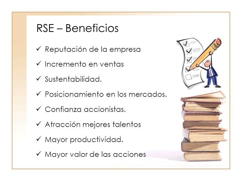 RSE – Beneficios Reputación de la empresa Incremento en ventas Sustentabilidad.