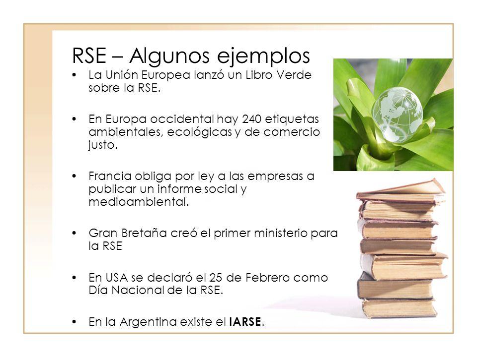 RSE – Algunos ejemplos La Unión Europea lanzó un Libro Verde sobre la RSE.