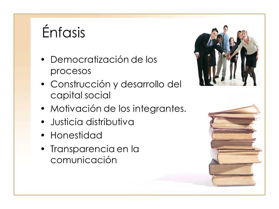 Énfasis Democratización de los procesos Construcción y desarrollo del capital social Motivación de los integrantes.