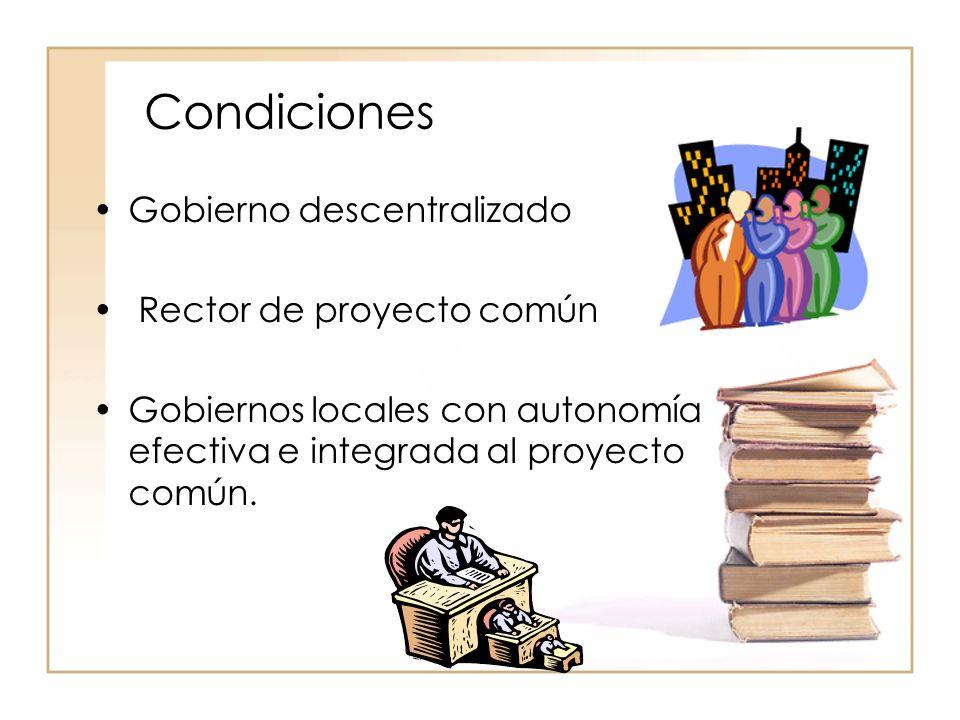 Condiciones Gobierno descentralizado Rector de proyecto común Gobiernos locales con autonomía efectiva e integrada al proyecto común.