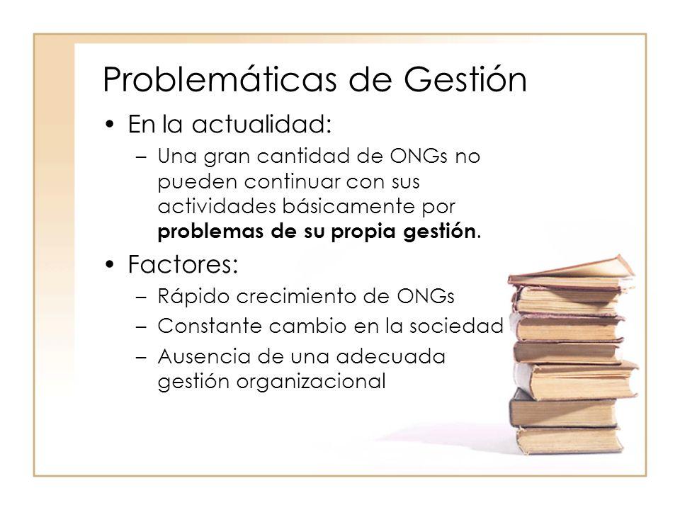 Problemáticas de Gestión En la actualidad: –Una gran cantidad de ONGs no pueden continuar con sus actividades básicamente por problemas de su propia gestión.