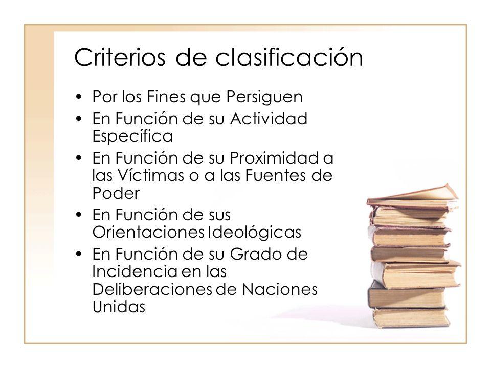 Criterios de clasificación Por los Fines que Persiguen En Función de su Actividad Específica En Función de su Proximidad a las Víctimas o a las Fuentes de Poder En Función de sus Orientaciones Ideológicas En Función de su Grado de Incidencia en las Deliberaciones de Naciones Unidas
