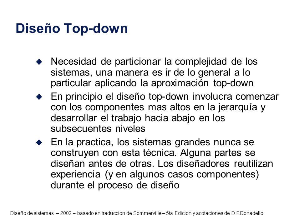 Diseño de sistemas – 2002 – basado en traduccion de Sommerville – 5ta Edicion y acotaciones de D.F.Donadello Diseño Top-down u Necesidad de particiona