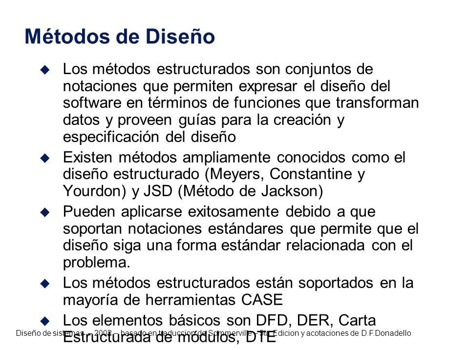 Diseño de sistemas – 2002 – basado en traduccion de Sommerville – 5ta Edicion y acotaciones de D.F.Donadello Métodos de Diseño u Los métodos estructur