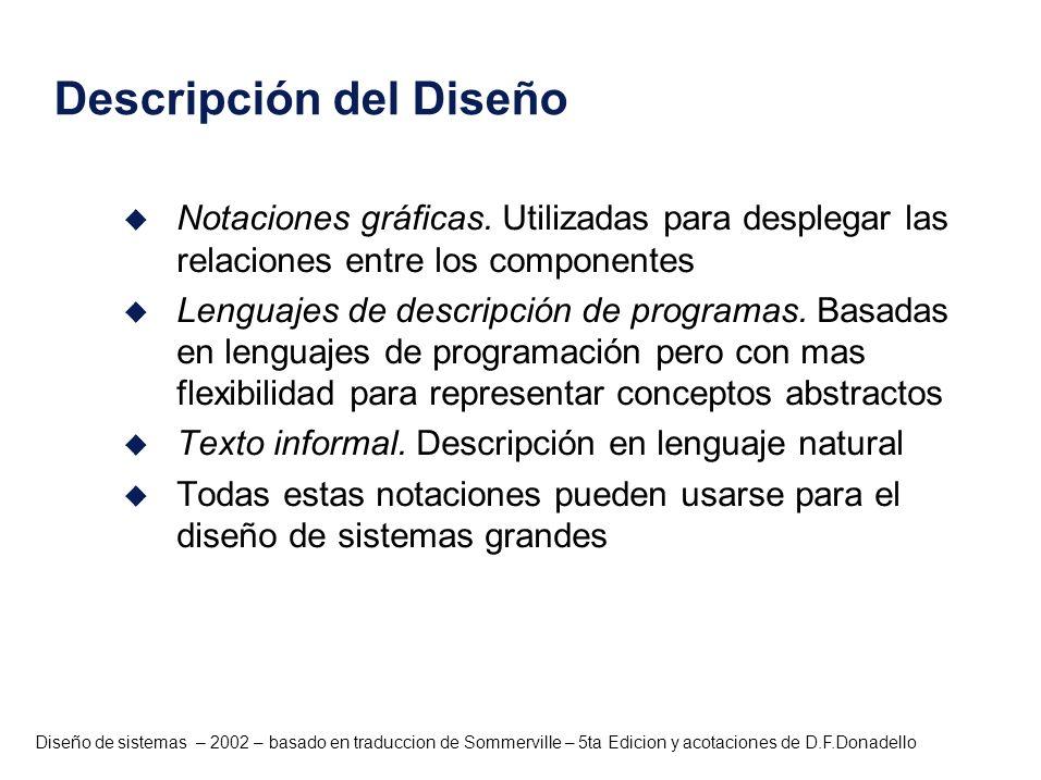 Diseño de sistemas – 2002 – basado en traduccion de Sommerville – 5ta Edicion y acotaciones de D.F.Donadello Descripción del Diseño u Notaciones gráfi