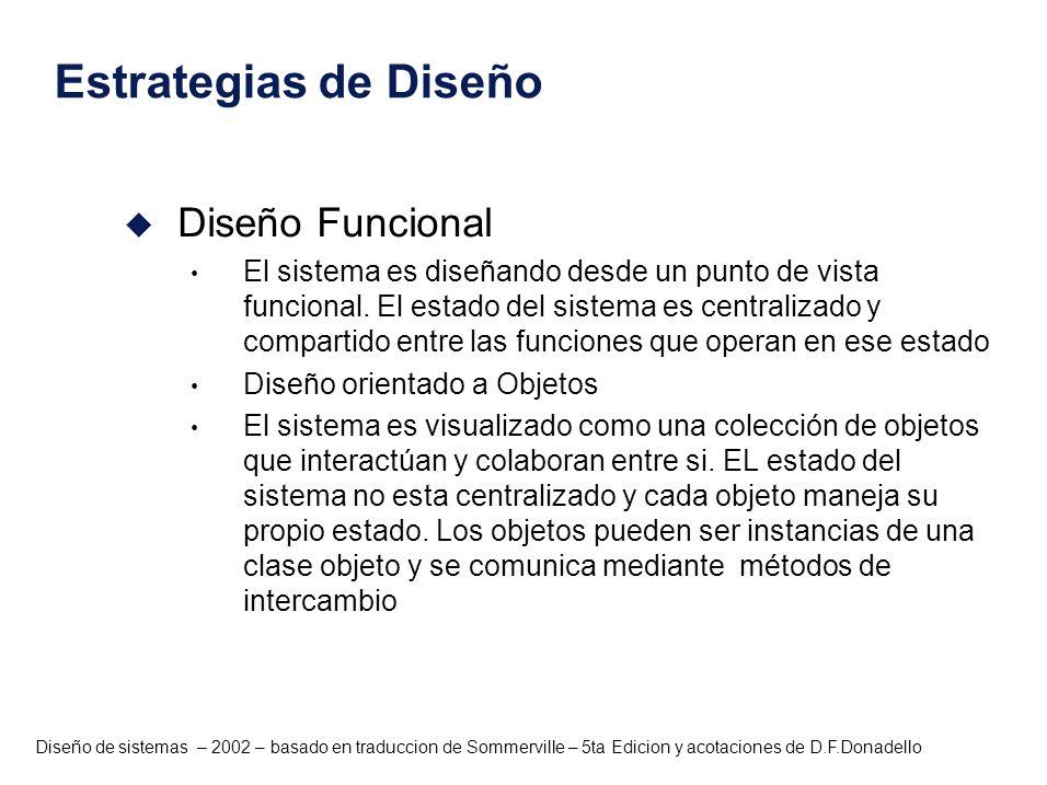 Diseño de sistemas – 2002 – basado en traduccion de Sommerville – 5ta Edicion y acotaciones de D.F.Donadello Estrategias de Diseño u Diseño Funcional