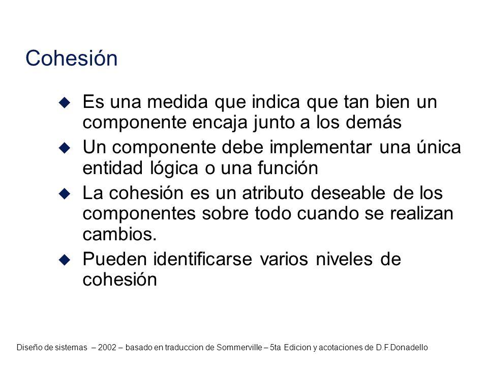 Diseño de sistemas – 2002 – basado en traduccion de Sommerville – 5ta Edicion y acotaciones de D.F.Donadello Cohesión u Es una medida que indica que t