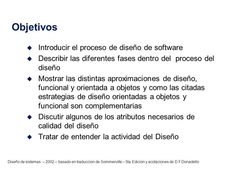 Diseño de sistemas – 2002 – basado en traduccion de Sommerville – 5ta Edicion y acotaciones de D.F.Donadello Métodos de Diseño u Los métodos estructurados son conjuntos de notaciones que permiten expresar el diseño del software en términos de funciones que transforman datos y proveen guías para la creación y especificación del diseño u Existen métodos ampliamente conocidos como el diseño estructurado (Meyers, Constantine y Yourdon) y JSD (Método de Jackson) u Pueden aplicarse exitosamente debido a que soportan notaciones estándares que permite que el diseño siga una forma estándar relacionada con el problema.