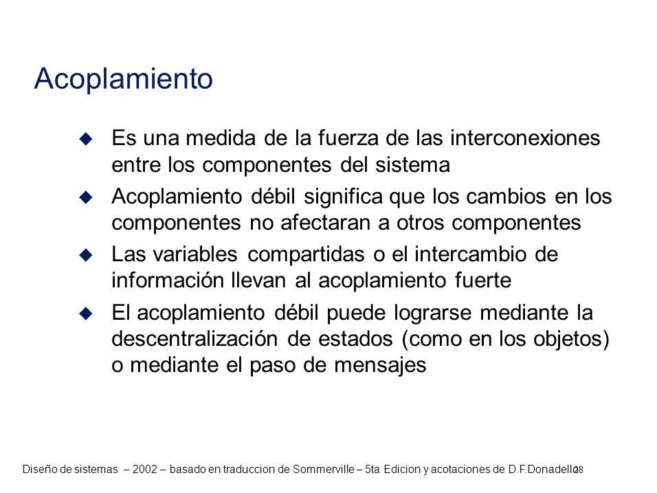 Diseño de sistemas – 2002 – basado en traduccion de Sommerville – 5ta Edicion y acotaciones de D.F.Donadello u Es una medida de la fuerza de las inter