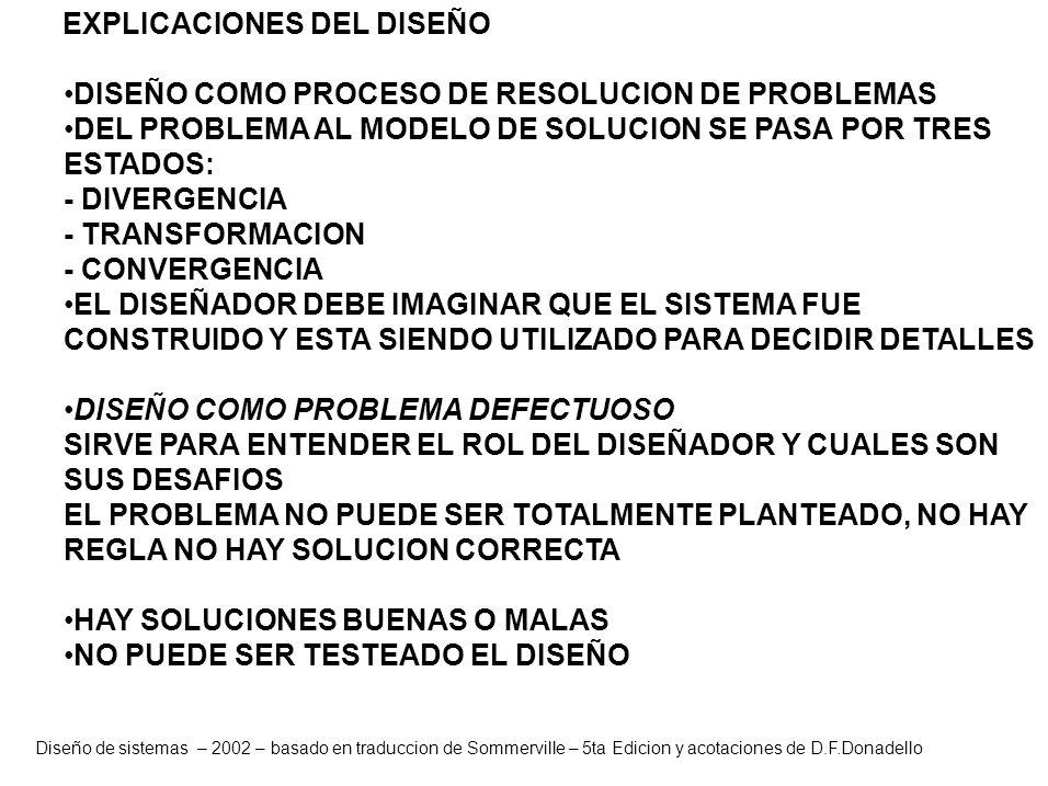 Diseño de sistemas – 2002 – basado en traduccion de Sommerville – 5ta Edicion y acotaciones de D.F.Donadello EXPLICACIONES DEL DISEÑO DISEÑO COMO PROC