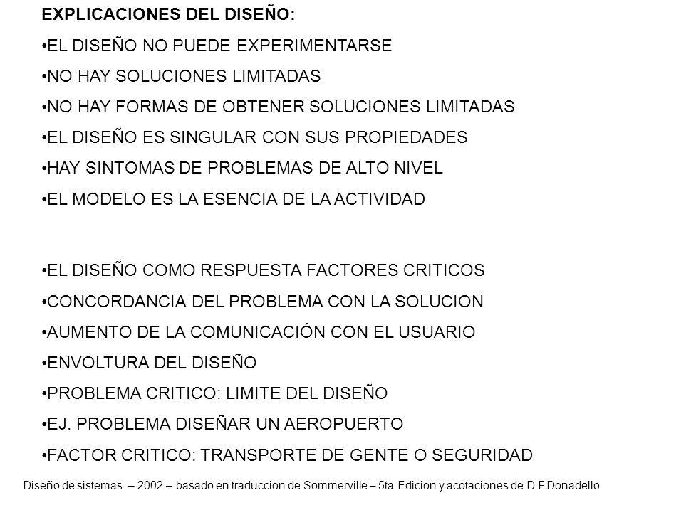 Diseño de sistemas – 2002 – basado en traduccion de Sommerville – 5ta Edicion y acotaciones de D.F.Donadello EXPLICACIONES DEL DISEÑO: EL DISEÑO NO PU