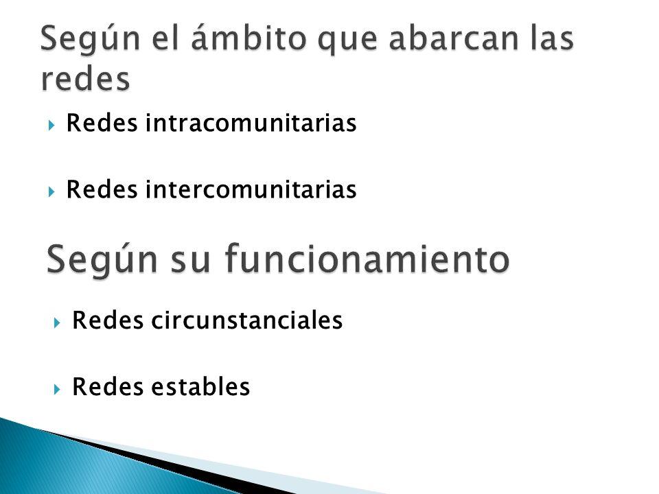 Redes intracomunitarias Redes intercomunitarias Redes circunstanciales Redes estables