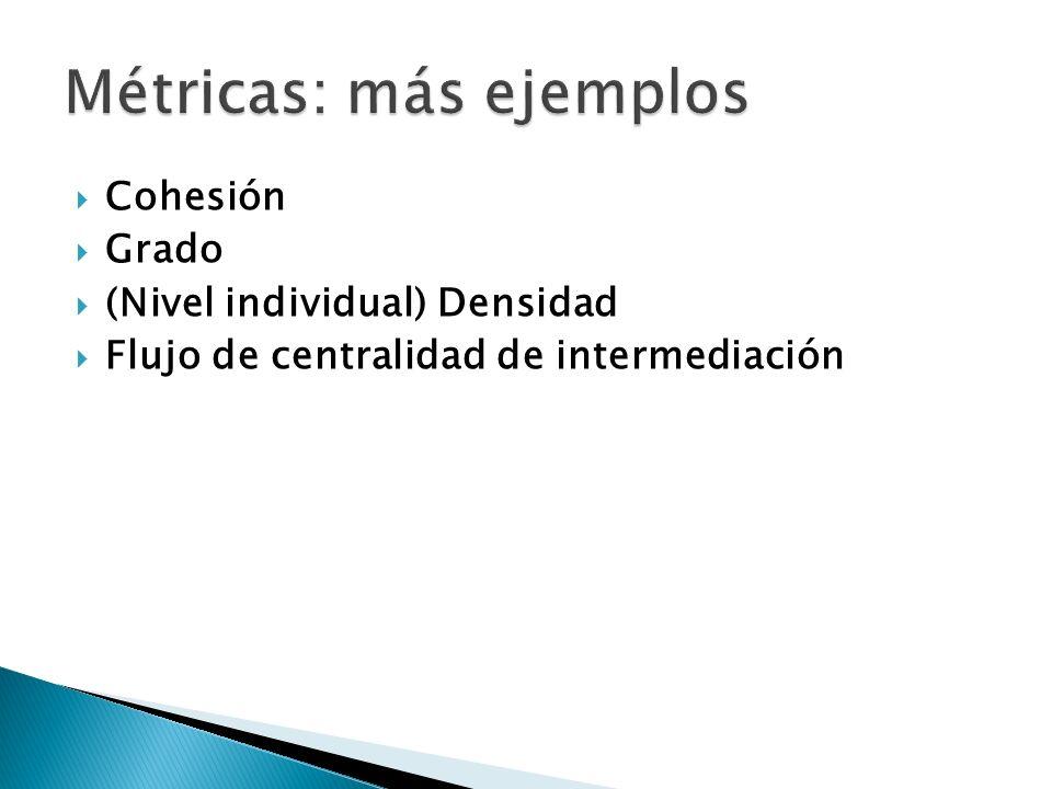 Cohesión Grado (Nivel individual) Densidad Flujo de centralidad de intermediación