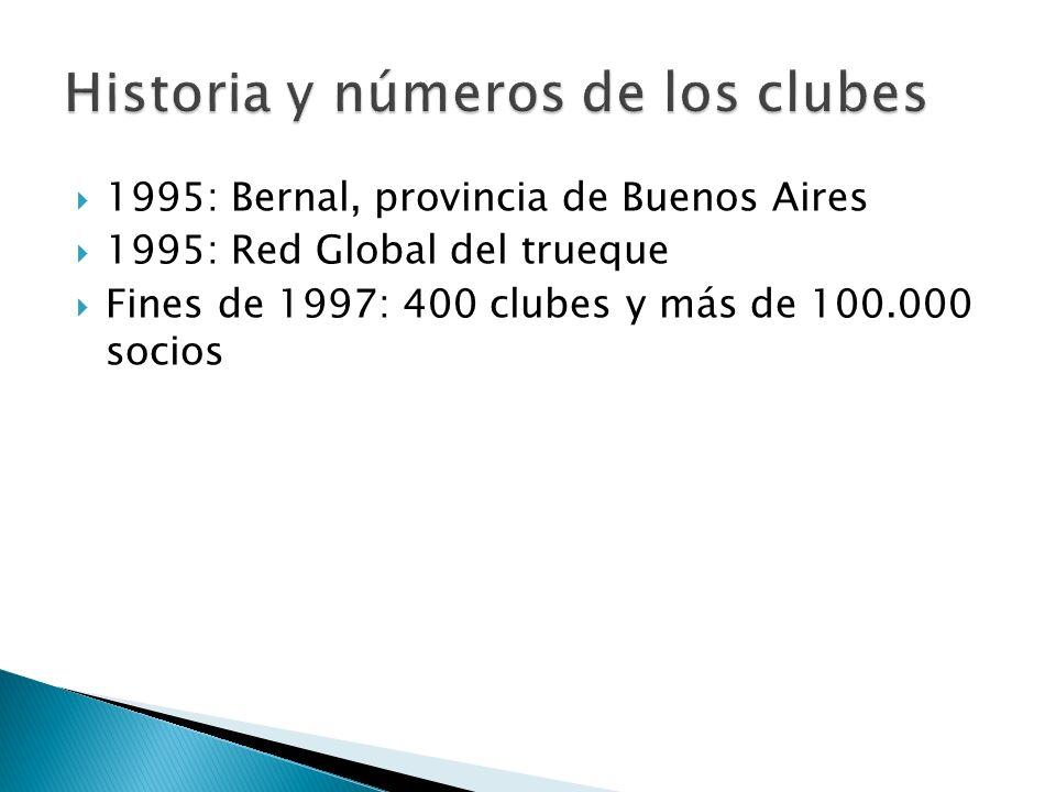1995: Bernal, provincia de Buenos Aires 1995: Red Global del trueque Fines de 1997: 400 clubes y más de 100.000 socios