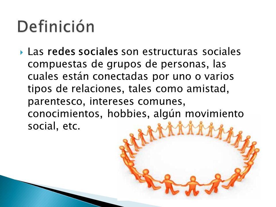 Las redes sociales son estructuras sociales compuestas de grupos de personas, las cuales están conectadas por uno o varios tipos de relaciones, tales